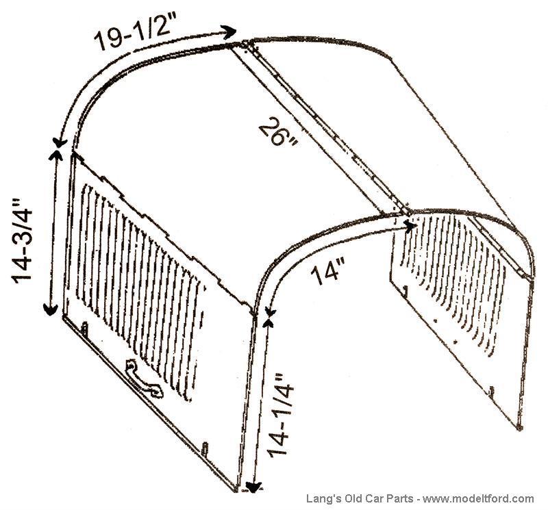 model t hood  steel hood  latch dimples  stamped steel