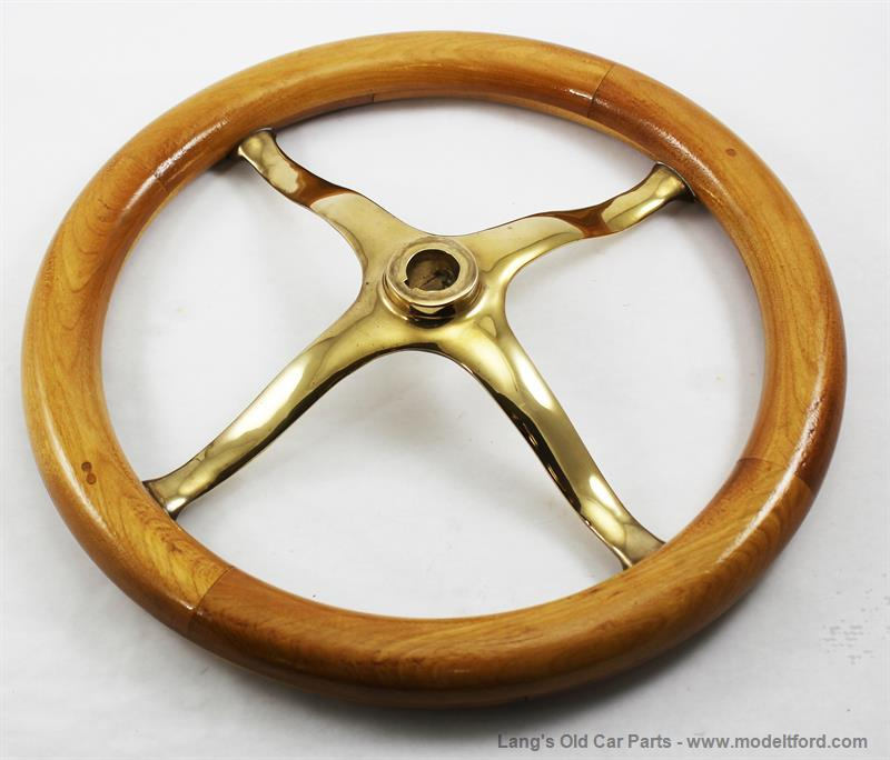 model t steering wheel with wood rim and brass spider  12