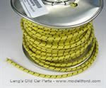 Model T Yellow wire with Black tracer, 12 gauge cloth covered, sold by foot - 5042WYB
