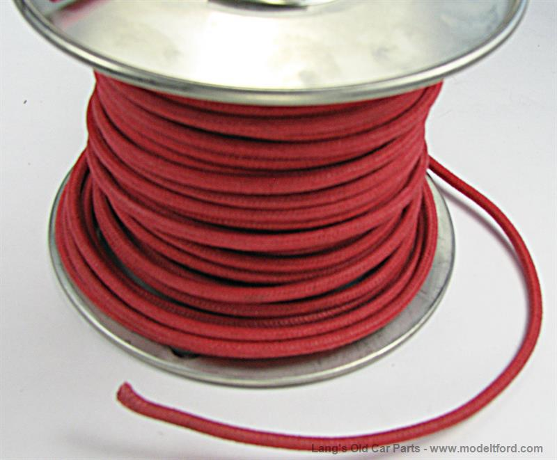 Model T Red wire 14 gauge cloth covered sold by the foot, 5042WR