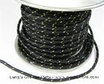 Model T Black wire wiith Yellow tracer, 14 gauge cloth covered, sold by foot - 5042WBKY