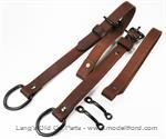 Model T Back curtain straps, natural color leather with black hardware - 7831STA
