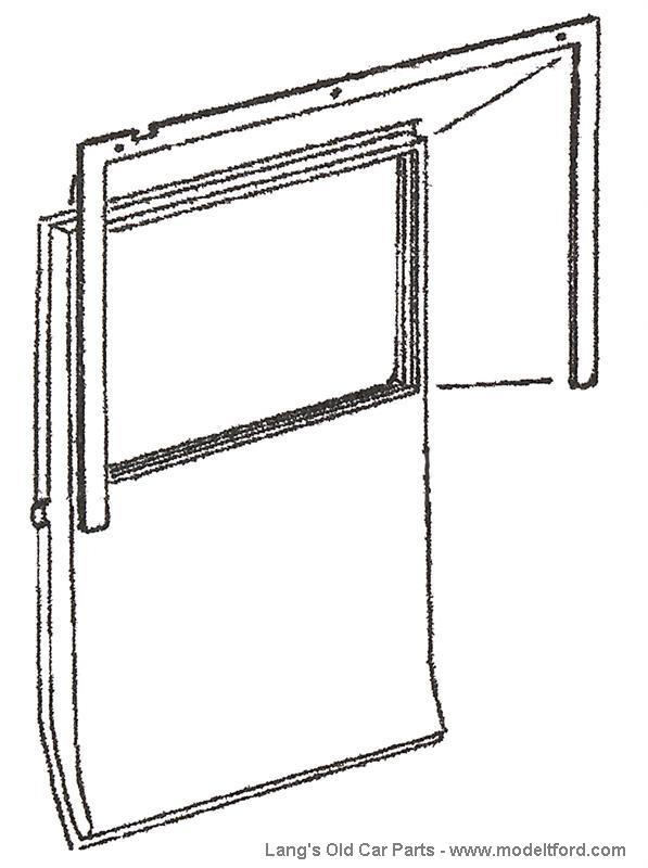 model t driver u2019s side front door window inside garnish molding  top and side   4532fd