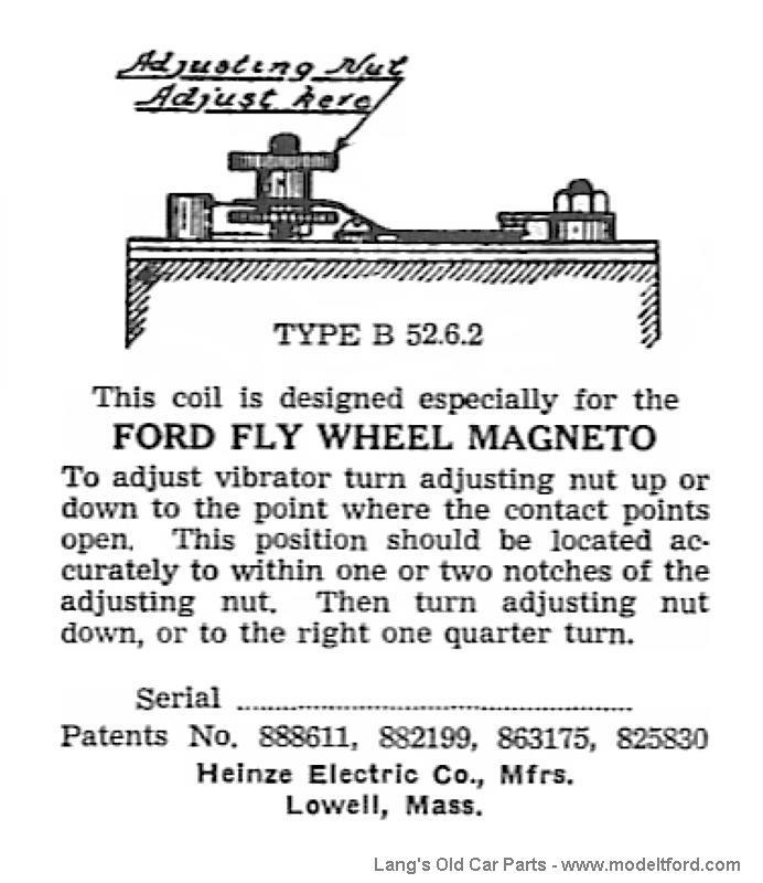 Model T Heinze label, found on inside of lid, serial number blank ...