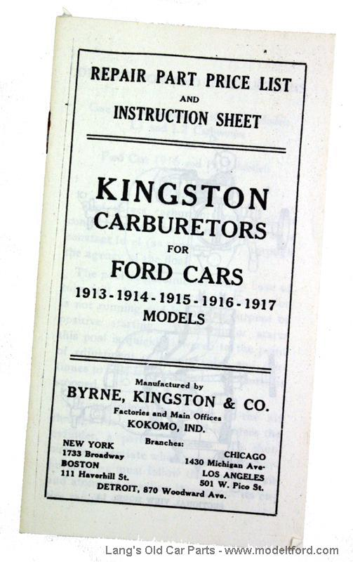 model t kingston carburetors for ford cars booklet  kg1