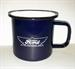 Model T Ford Blue Coffee Mug with Ford Wing Emblem, metal, non-breakable